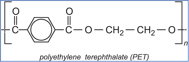 """The chemical structure of PET polymer chain with """"n"""" repeat units"""